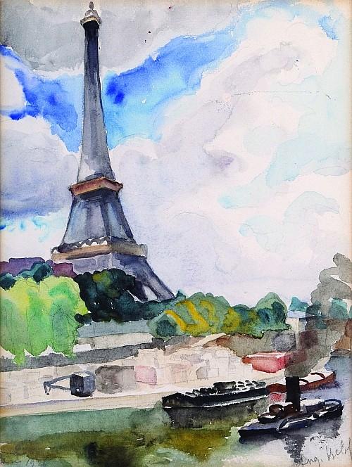 ANGELINA BELOFF, Torre Eiffel, Firmado y fechado, 1926 Acuarela sobre papel, 28.5 x 21.5 cm