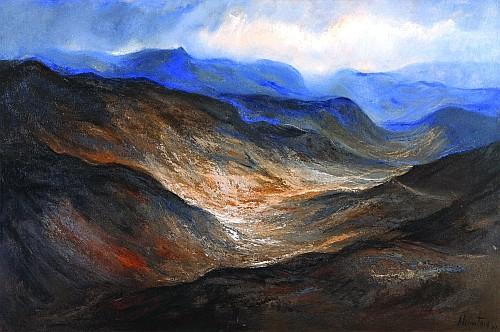 ERNESTO ALCÁNTARA, Lejanías de la sierra, Firmado y fechado, 87 Óleo sobre tela, 80 x 120 cm