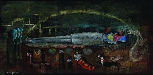 LEONORA CARRINGTON, Adieu mon général, Firmado y fechado, 1969, Óleo sobre masonite, 61 x 122 cm