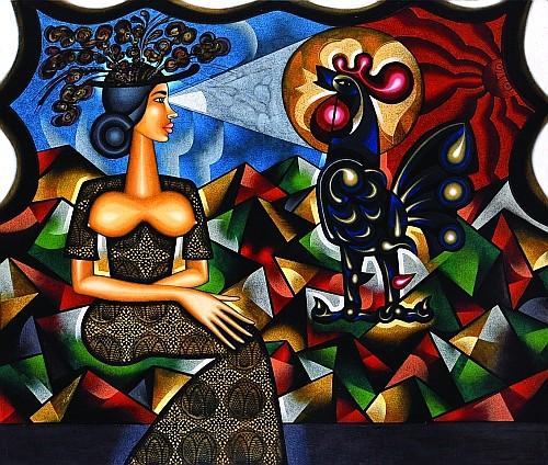 CARLOS LUNA, Para un gallo pisador, una mujer elegante, Firmado y fechado, 1999 Óleo sobre tela, 110 x 13, certificado artista