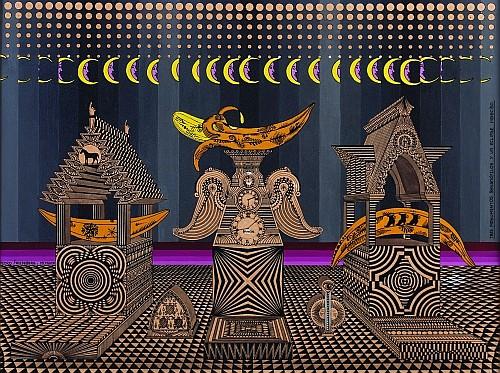 PEDRO FRIEDEBERG, Tres monumentos Bananófilos y un eclipse indecíso, Firmado y fechado, 1968,  Óleo sobre cartón, 42 x 54.5 cm