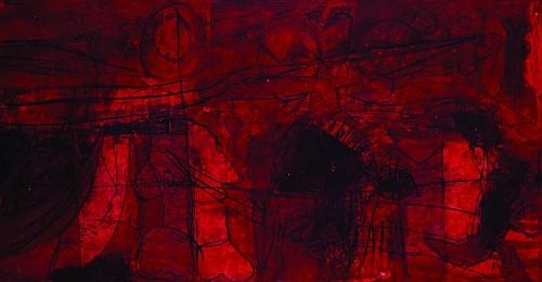 SERGIO HERNÁNDEZ, Edificio rojo, Firmado y fechado, 1997 Mixta sobre papel amate sobre tela, 96 x 186 cm