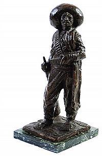 JUAN CRUZ REYES, Retrato de Emiliano Zapata, 1936, Firmada Escultura en bronce, 34 cm de altura, de la COLECCIÓN Marte R. Gómez