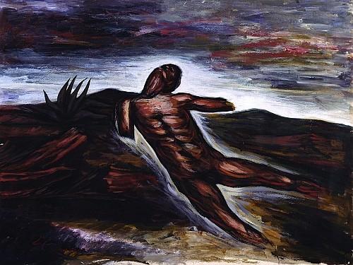 JOSÉ CLEMENTE OROZCO, Hombre mutilado, Firmado Temple sobre cartulina, 49 x 37 cm,c carta aserverando autencidad de Carlos Pellicer