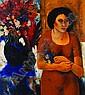 PAUL ANTRAGNE, Mujer con florero, Firmado y fechado, 62 Óleo sobre tela, 90 x 80 cm, Paul Antragne, Click for value