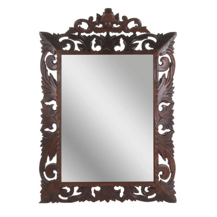 Espejo francia siglo xx estilo luis xiii marco de madera for Espejo rectangular con marco de madera