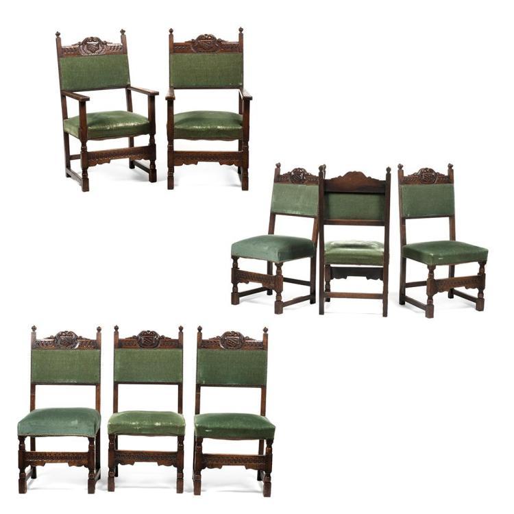 Juego de 6 sillas y 2 sillones francia siglo xx en madera - Tapiceria de sillas ...