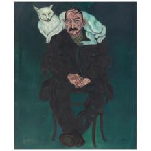 IGNACIO ORTIZ, Hombre con gato, Signed and dated 73, Oil on canvas, 120 x 100 cm, With certificate