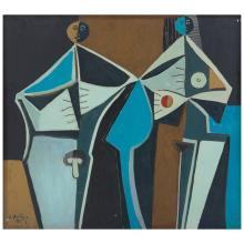 IGNACIO ORTIZ, Eva y Adán en la conciencia, Signed and dated 93, Oil on canvas, 100 x 90 cm, With certificate