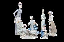Lote de figuras decorativas. Origen español. En porcelana Nao, Nadal, Rex y Zaphire, acabados brillantes. Piezas: 6