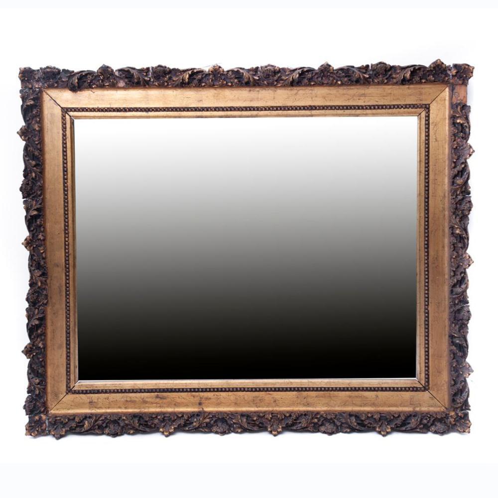 Espejo siglo xx estilo barroco luna rectangular con marco for Espejo rectangular con marco de madera