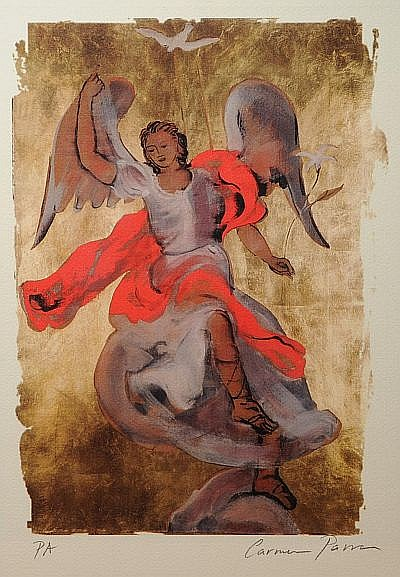 Carmen Parra. (México 1944) Arcángel. Litografía PA. Firmada. Doble vidrio. Dimensiones: 46 x 32 cm.