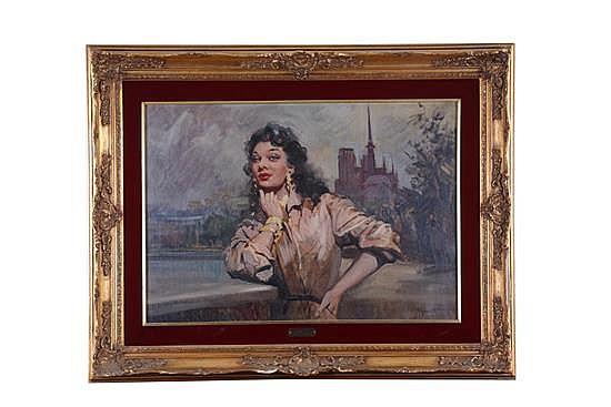 Giordano Giovanetti. Siglo XX. Retrato de dama. Óleo sobre tela. Enmarcado. Firmado.