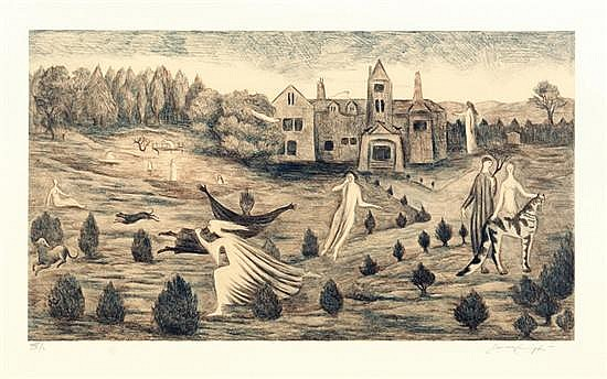 LEONORA CARRINGTON, Crookney Hall, 1987, Firmada, Litografía XXX / L, 60.5 x 91 cm.