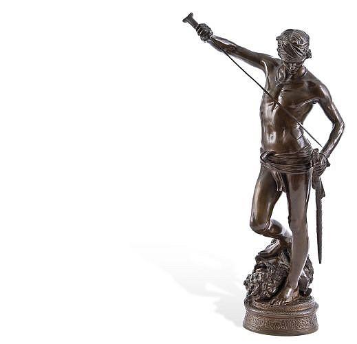 ANTONIN MERCIÉ (FRANCIA, 1845 - 1916) DAVID DESPUÉS DEL COMBATE. Bronce con pátina marrón. Firmado en base. 45 cm de altura.