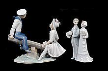Lote de figuras decorativas. Origen español. Elaboradas en porcelana Lladró, acabado brillante. Piezas:2