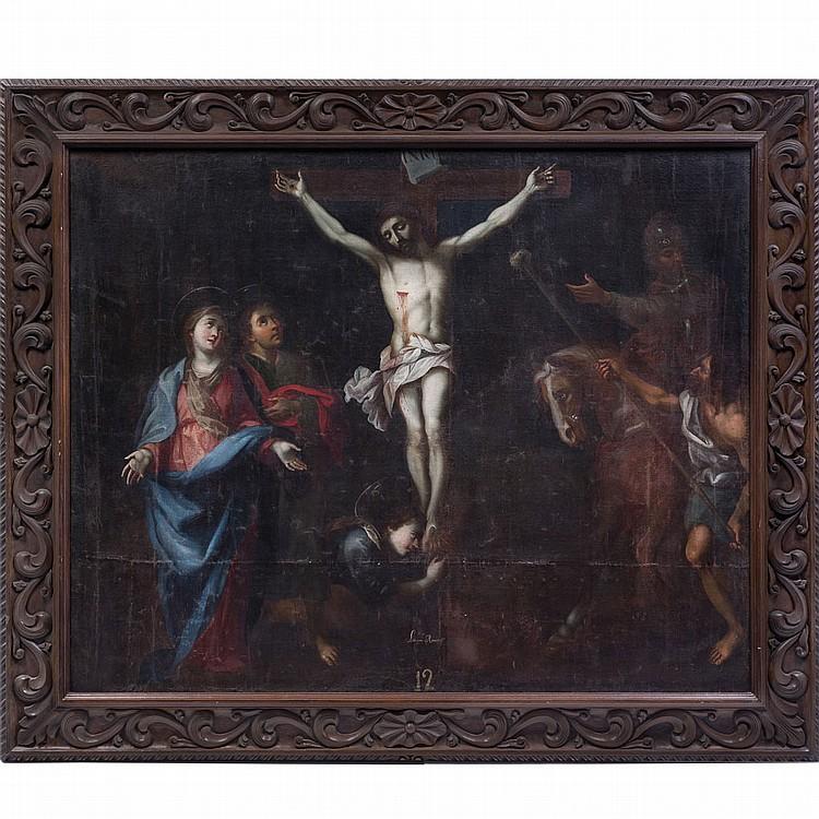 FIRMADO LORENZO ROMERO (MÉX,S XVII - XVIII) ESTACIÓN XII DEL VÍA CRUCIS (JESÚS MUERE EN LA CRUZ)Óleo sobre tela. 133x163 cm