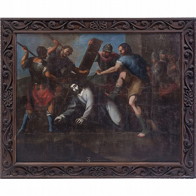 LORENZO ROMERO (MÉX, S XVII - XVIII) ESTACIÓN III DEL VÍA CRUCIS (JESÚS CAE POR PRIMERA VEZ) Óleo sobre tela. 135 x 163 cm