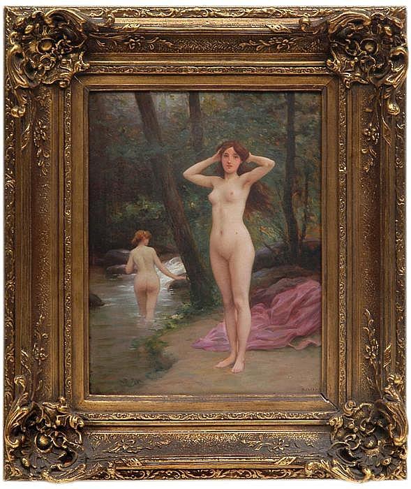 Jules Scalbert (1851 - ?). Escuela francesa. Bañistas en el río. Firmado. Óleo sobre tablero. 34 x 26 cm.