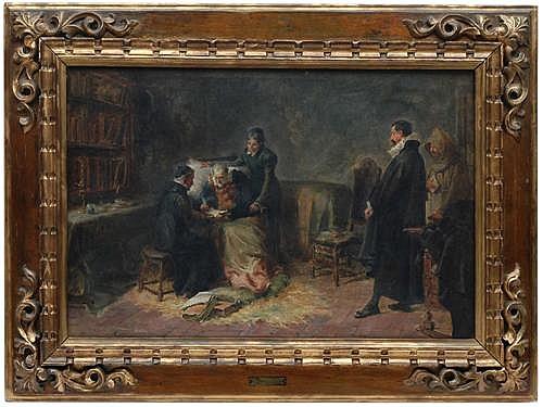 Eugenio Oliva Rodrigo (1852 - 1925). Esc. española. El testamento de Miguel de Cervantes Saavedra. Firmado. Ó/lienzo. 47.5 x 72 cm.