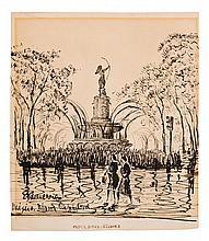 ENRIQUE ECHEVERRÍA, México, Diana Cazadora., Firmada. Tinta sobre papel., 33.5 x 28.5 cm, Con certificado.