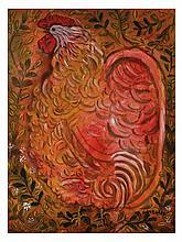 RAYMUNDO GONZÁLEZ, El gallo romántico, Firmado y fechado 71. Gouache y acuarela sobre papel, 93.5 x 69 cm