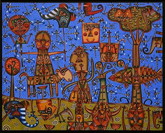 FERNANDO ANDRIACCI, Día de campo, Firmado y fechado 07, Óleo sobre tela, 120 x 150 cm.