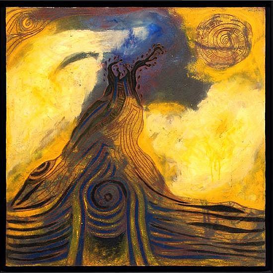 ROSENDO PÉREZ PINACHO, Árbol en tormenta, Firmado y fechado 99, Óleo sobre tela, 100 x 100 cm.