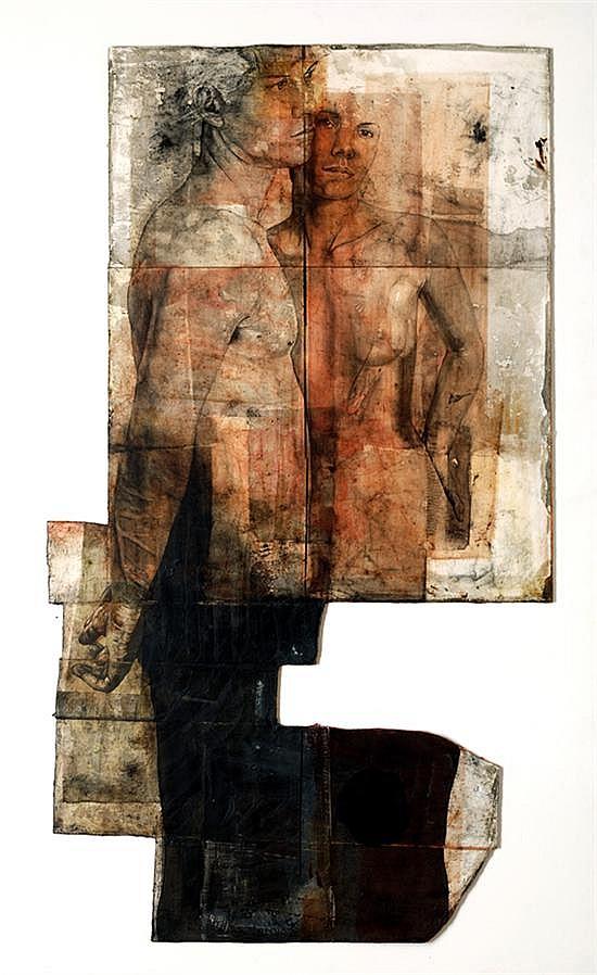 ROBERTO CORTÁZAR, Dos figuras en el estudio, obra 258, Firmado y fechado 2002 al reverso, Mixta: Carbón, grafito, óleo, 163 x 92 cm.