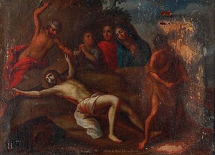 José de Paez ( 1720 - 1790 ). O. mex. Vía Crucis (estaciones I a la XII). Ó/lienzo. Firmado. 33 x 44.5 cm. Piezas: 12.