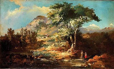 Atribuidos a August Löhr ( 1843 - 1919 ). Esc. alemana. Paisajes de México. Sin firma. Óleo sobre lienzo. 33 x 56 cm c/u. Piezas. 5.