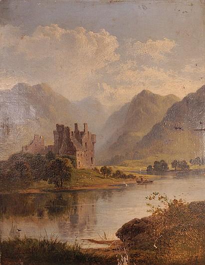 George Blackie Sticks ( 1843 - 1938 ). Escuela inglesa. Vista de lago y castillo. Firmado y fechado 1877. Ó/lienzo/tablero. 45 x 35 cm.