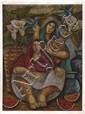 AÍDA EMART, Mujeres con cántaros y flores, Firmado y fechado 96. Óleo sobre tela, 80 x 61 cm, Vo.Bo. Aída Emart.
