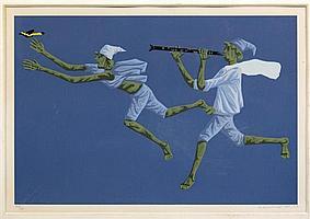 CLÓVIS GRACIANO, Flautista e pássaro, Firmada y fechada 77. Serigrafía 22 / 130, 39.5 x 59 cm
