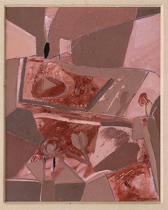 PABLO AMOR, Sin título, Firmado y fechado 1984. Óleo y arenas sobre tela, 50 x 40.cm