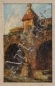 LUIS SAHAGÚN, Acueducto, Morelia, Firmado y fechado 1965 al reverso. Óleo sobre madera, 24 x 15.5 cm