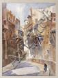 EDGARDO COGHLAN, Calle sin puertas, Firmada. Acuarela sobre papel, 74 x 53.5 cm