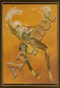 GUILLERMO MEZA, Al desplegar sus alas, Firmado1973 y con monograma. Gouache, lápices de color y pastel/ papel, 91.5 x 62.8 cm