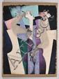 BYRON GÁLVEZ, El Pensador, Firmado y fechado 91. Acrilografía sobre papel hecho a mano sin tiraje, 112 x 86.5 cm