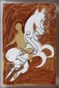 CHUCHO REYES, Caballo con jinete, Firmado y con sello de inventario. Témpera sobre papel de china, 75 x 49 cm