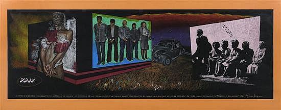 FELIPE EHRENBERG, Noticias varias, de la serie Umbras y Penumbras, Firmado y fechado 1983. Pastel sobre papel negro, 36 x 107 cm