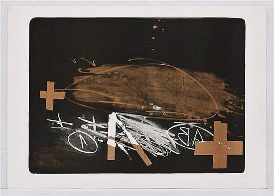 ANTONI TÀPIES, A effacé (borrado), 1974, Firmada. Litografía 5 / 90, 54.5 x 75.2 cm, Con certificado.