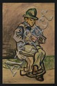 PABLO O´HIGGINS, Sin título (hombre leyendo), Firmada. Acuarela sobre papel, 59 x 37.7 cm