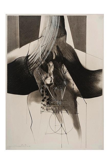 ISMAEL GUARDADO, Abstracto, Firmado y fechado 84. Grafito y conté sobre papel, 100 x 70 cm