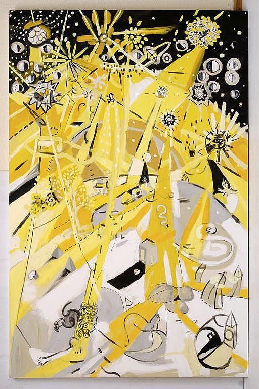 BARDO, Las Estrellas, Firmado por los tres artistas y fechado 2012 al reverso. Acrílico sobre tela, 200 x 130.5 cm, Con certificado.
