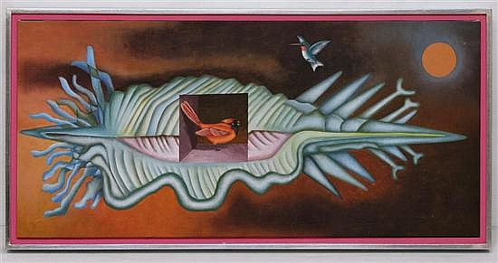 JOSÉ MARÍA SERVÍN, Aves, Sin firma. Óleo sobre tela, 35 x 75 cm