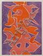 PEDRO CORONEL, Composición Naranja I, Firmada. Litografía E.A. VIII / X, 75.5 x 55.5 cm