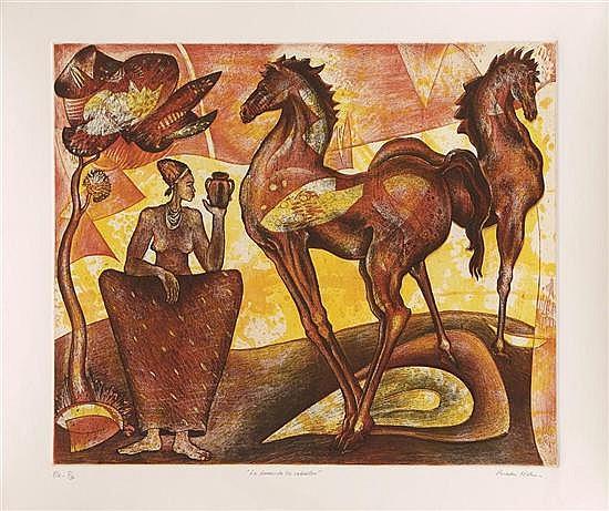 TOMÁS PINEDA MATUS, La dama de los caballos, 2010, Firmado. Grabado P / E I / IV, 49 x 59 cm