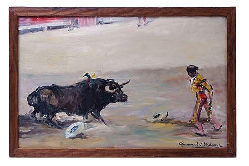 ÁNGEL GONZÁLEZ MARCOS (ESPAÑA, 1900 - 1977). BANDERILLAS. } Óleo sobre tela. Firmado. 37.5 x 60.5 cm.
