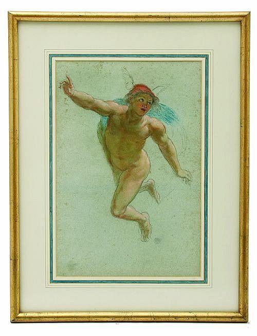 Atribuido a Pelegrín Clavé y Roqué (España, 1811 - 1880). Mercurio. Mixta sobre papel. Dimensiones: 38 x 25 cm.